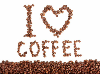 Panel Szklany Do kawiarni I love coffee - beans text on white