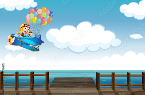 Fotobehang Vliegtuigen, ballon A boastful monkey flying on a plane