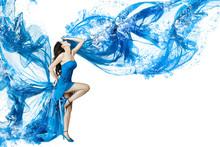 Woman Dance In Blue Water Dress Dissolving In Splash. Isolated W