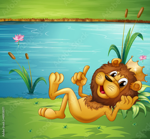 Canvas Prints River, lake A lion with a crown