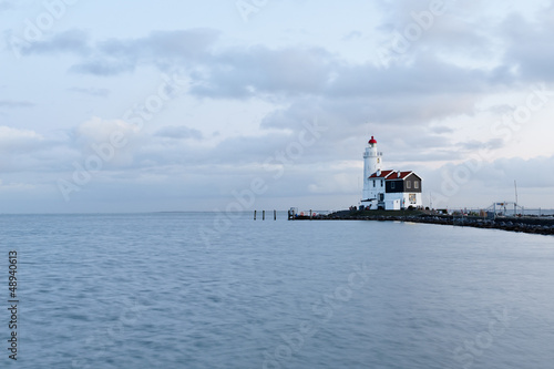 Photo Stands Horses Marken Lighthouse at Dusk