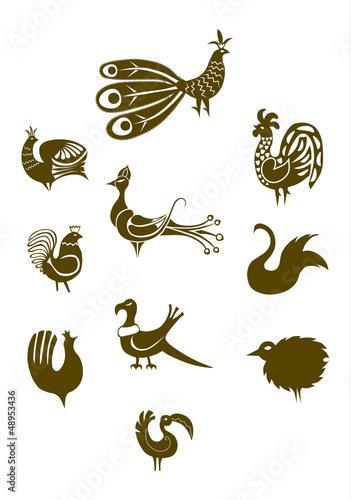 Ptaki w stylu folkowym.