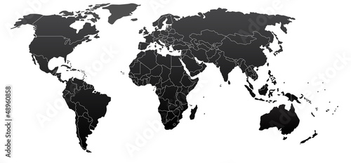 Spoed Foto op Canvas Wereldkaart Political world map