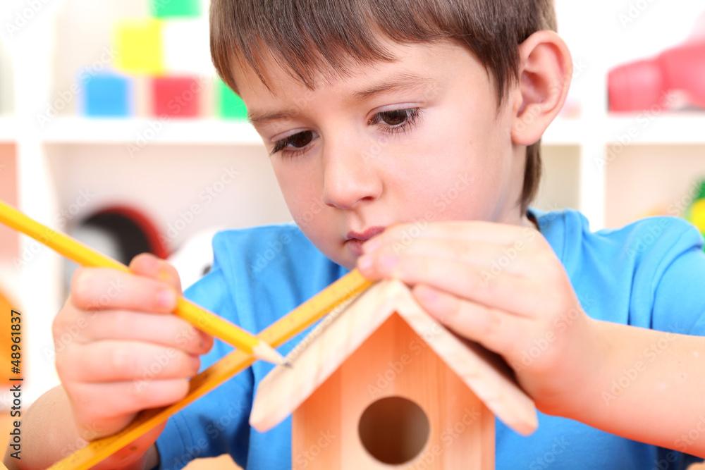 Peachy Cute Little Boy Makes Birdhouse For Birds Foto Poster Download Free Architecture Designs Scobabritishbridgeorg