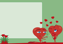 Comic Couple - Red Hearts On A Green Wallpaper