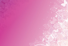 Vector Magical Pink Butterflies Horizontal Background With Hand