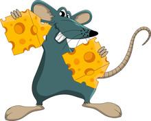 Cute Cartoon Mouse Whit Cheese