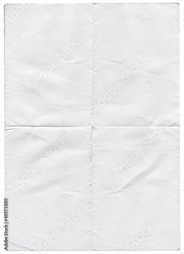 Isolated old white folded torn paper. Fototapet
