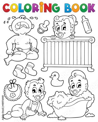 Spoed Foto op Canvas Doe het zelf Coloring book babies theme image 1
