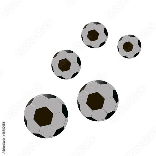 five footballs. Vector illustration