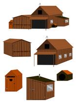 Zestaw Drewnianych Budynków W...
