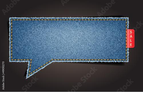 Canvas Print Jeans texture background on retro style speech bubbles