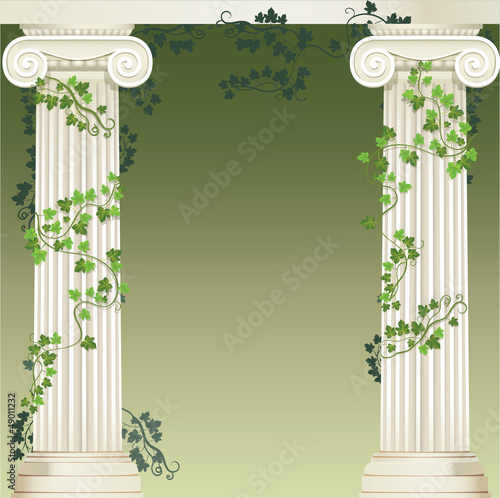 Obraz na plátně Two Ionic columns entwined with ivy