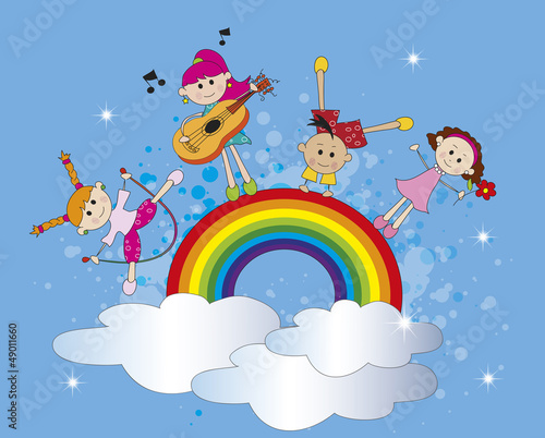 In de dag Regenboog happy children