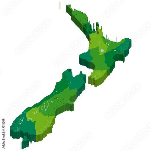 Photo ニュージーランド 地図 3D 国