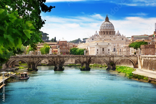 obraz PCV view on Tiber and St Peter Basilica in Vatican