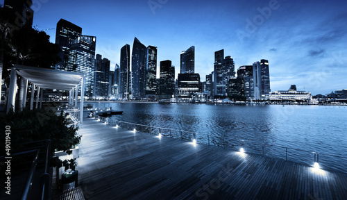Deurstickers Singapore Singapore city in sunset time