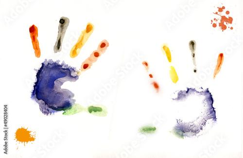 Fotografie, Obraz  отпечаток детских рук на бумаге