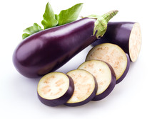Aubergine With Leaves Isolated...