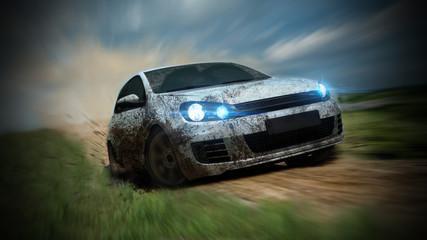 prljavi trkaći automobil