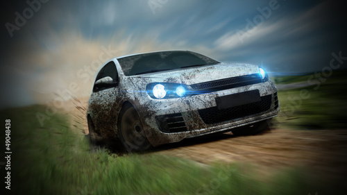 dirty racing car Wallpaper Mural