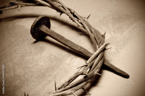 Stampa su Tela Jesus Christ crown of thorns and nail