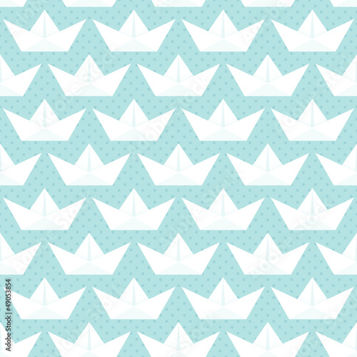 Seamless Pattern White Paperboats Dots Blue - 49053854