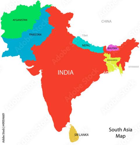 Poster Carte du monde South_Asia_map