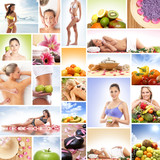 A collage of spa images with women and fresh food