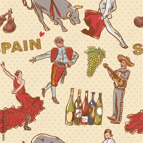 Poster Doodle Spain seamless repeating pattern with spanish symbols