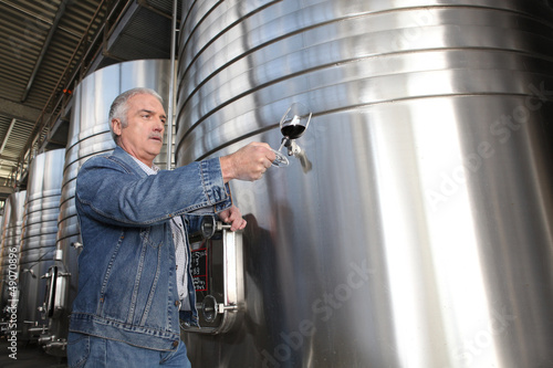 Fotomural  Winemaker with a glass of wine in the cellar