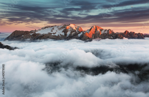 Staande foto Donkergrijs Beautiful spring landscape in the mountains. Sunset - Italy Dolo