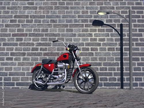 Acrylic Prints Red, black, white motorbike red