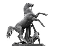 Horse Tamers Sculpture Isolated On White