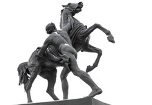 Horse Tamers Sculpture Isolated On White, St.Petersburg, Russia