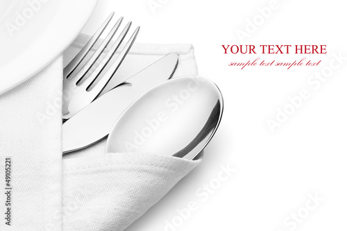 Fotografie, Obraz  Knife, fork and spoon with linen serviette.
