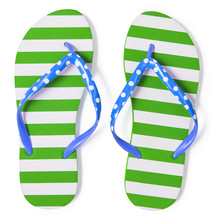 Green Flip Flops Isolated On White With Clipping Path Included W
