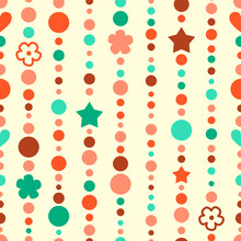 Colorful Light Beads Strings Seamless Pattern, Vector