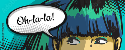 Tuinposter Pop Art woman peeking out, comics urban art, speech bubble
