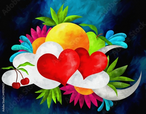 abstrakcyjne-tlo-z-sercami-i-owocami