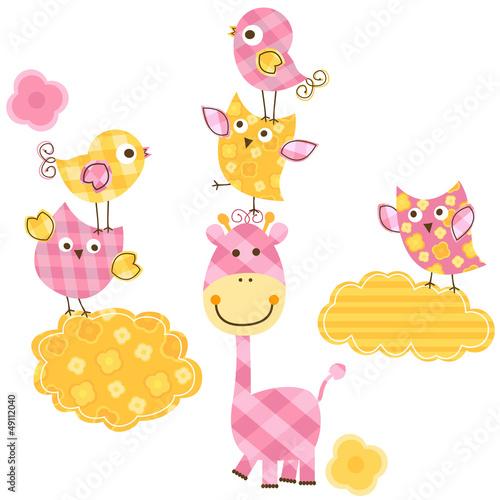 Poster Vogels, bijen cute birds & giraffe