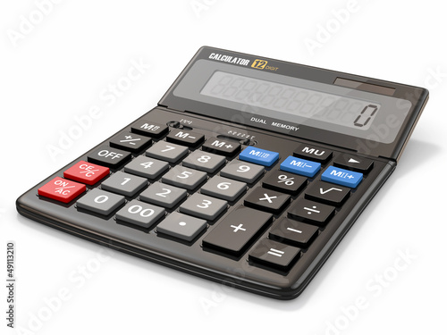 Fotografía  Calculator on white isolated background