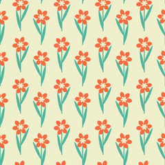 Red seamless flowers decorative pattern