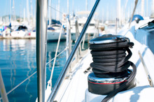 Yacht. Yachting. Sailboat Winch And Rope Yacht Detail