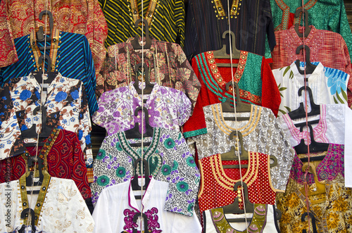 various colorful dress in Delhi market