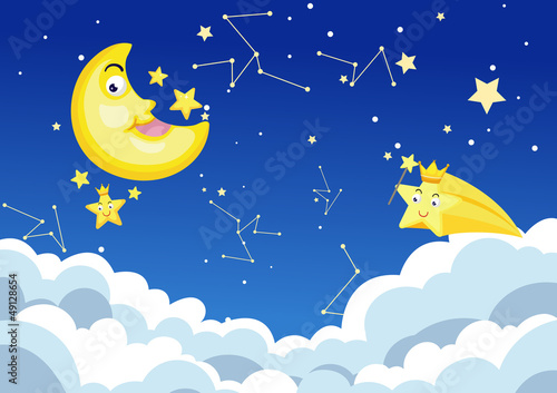 Cadres-photo bureau Cosmos moon night background vector