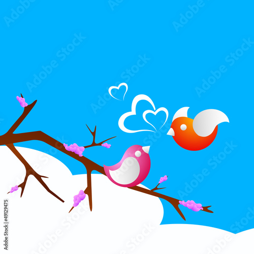 In de dag Vogels in kooien Valentine's Day love card or greeting card with cute love birds.