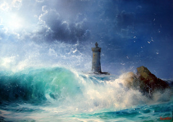 NaklejkaSeascape Wave and lighthouse