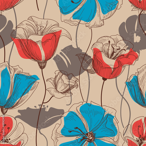 Deurstickers Abstract bloemen Retro floral seamless pattern vector