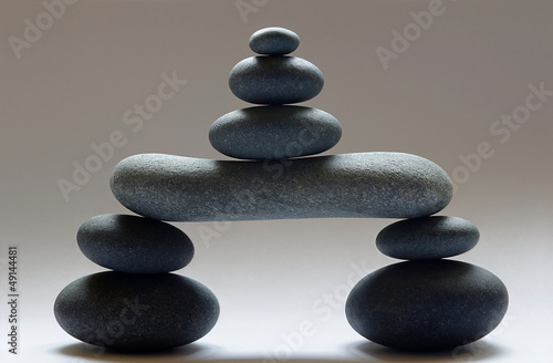 Doppelrollo mit Motiv - Zen Steinturm freigestellt